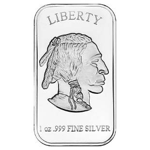 SilverTowne 1 oz Silver Bar Buffalo Design