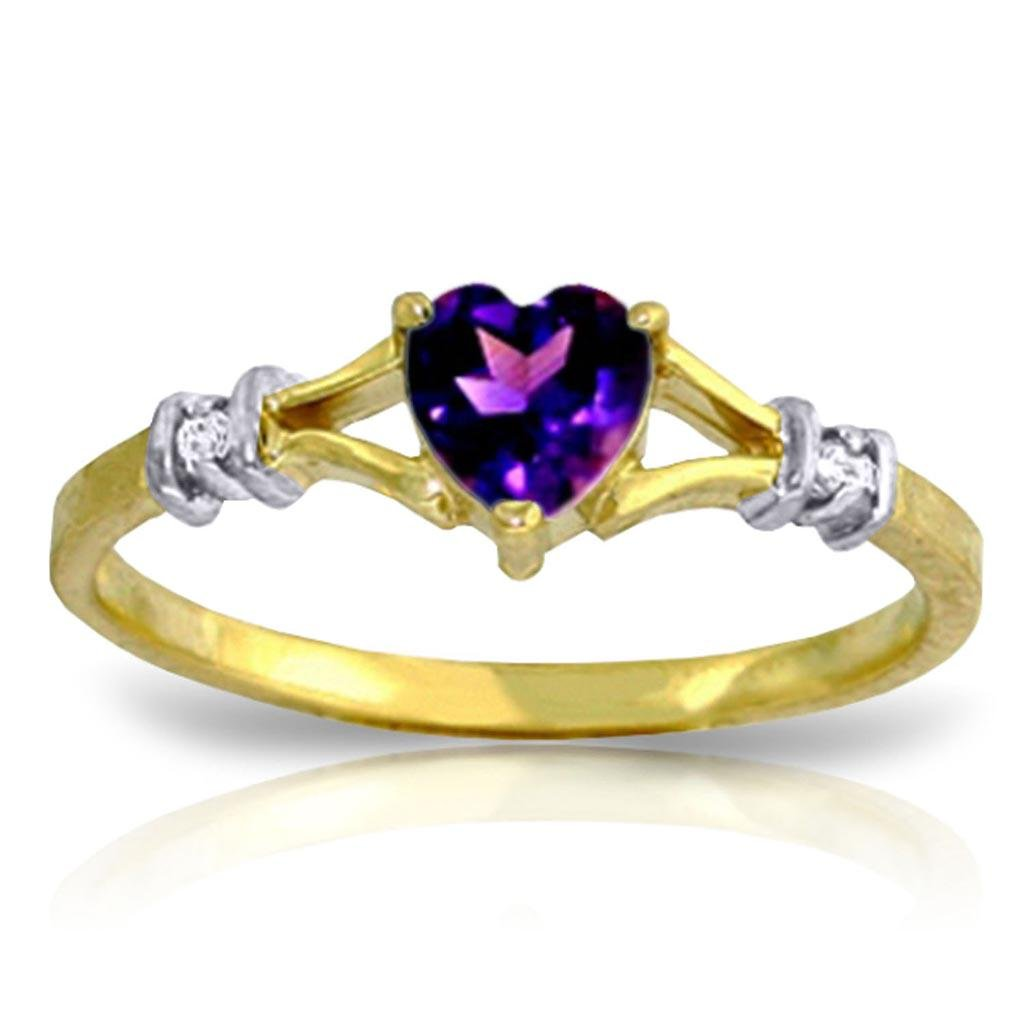 0.47 Carat 14K Solid Gold Rings Natural Diamond Purple