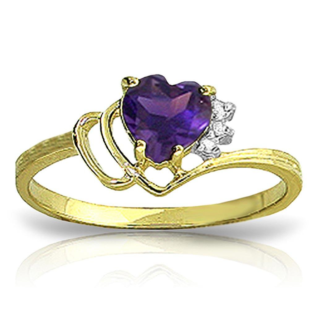 0.97 CTW 14K Solid Gold Ring Natural Diamond Purple Ame