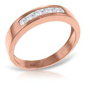 14K Solid Rose Gold Rings with Natural White Topaz