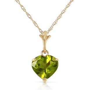 115 Carat 14K Solid Gold Leap Of Heart Peridot Necklac