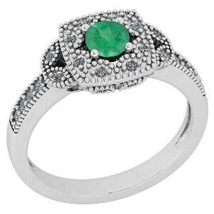 Certified 060 Ctw Emerald And Diamond I1I2 14K White