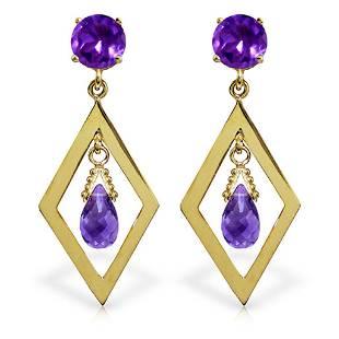 24 Carat 14K Solid Gold Chandelier Earrings Amethyst