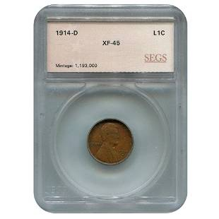 Certified Lincoln Cent 1914D XF45 SEGS