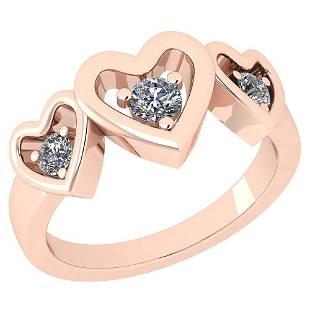 Certified 033 Ctw Diamond SI2I1 14K Rose Gold Ring Si