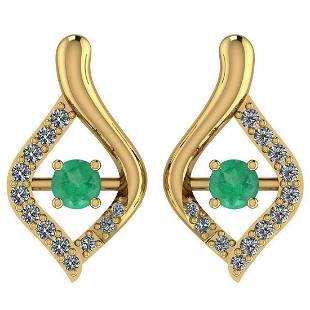 Certified 036 Ctw Emerald And Diamond VSSI1 14K Yello