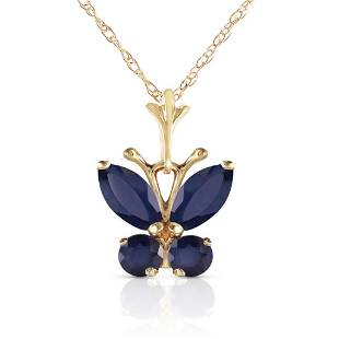 06 Carat 14K Solid Gold Butterfly Necklace Natural Sap