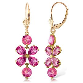 5.32 Carat 14K Solid Gold Petals Pink Topaz Earrings