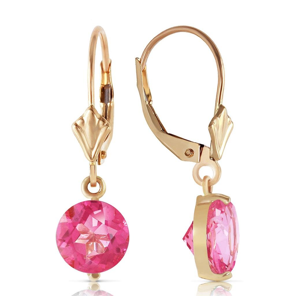 3.1 CTW 14K Solid Gold Girltalk Pink Topaz Earrings