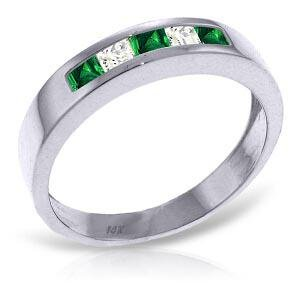 0.63 Carat 14K Solid White Gold Rings Natural Emerald W