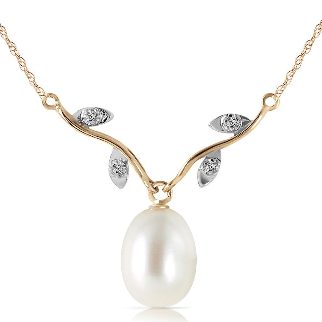 4.02 Carat 14K Solid Gold Love Oh Love pearl Diamond Ne