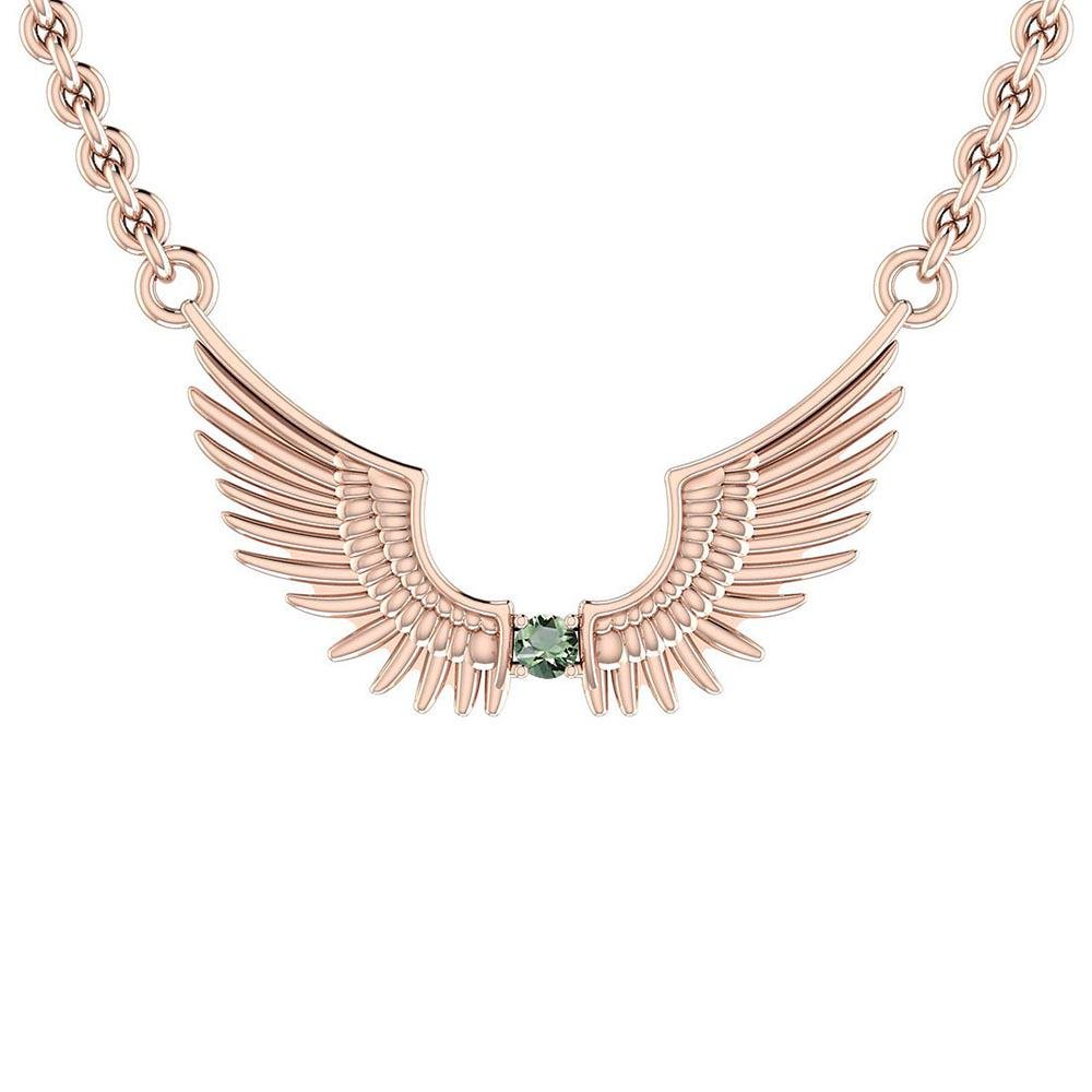 Certified 0.10 Ctw Green Amethyst 18K Rose Gold Necklac