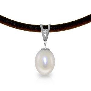 4.01 CTW 14K Solid White Gold Leather Necklace Diamond