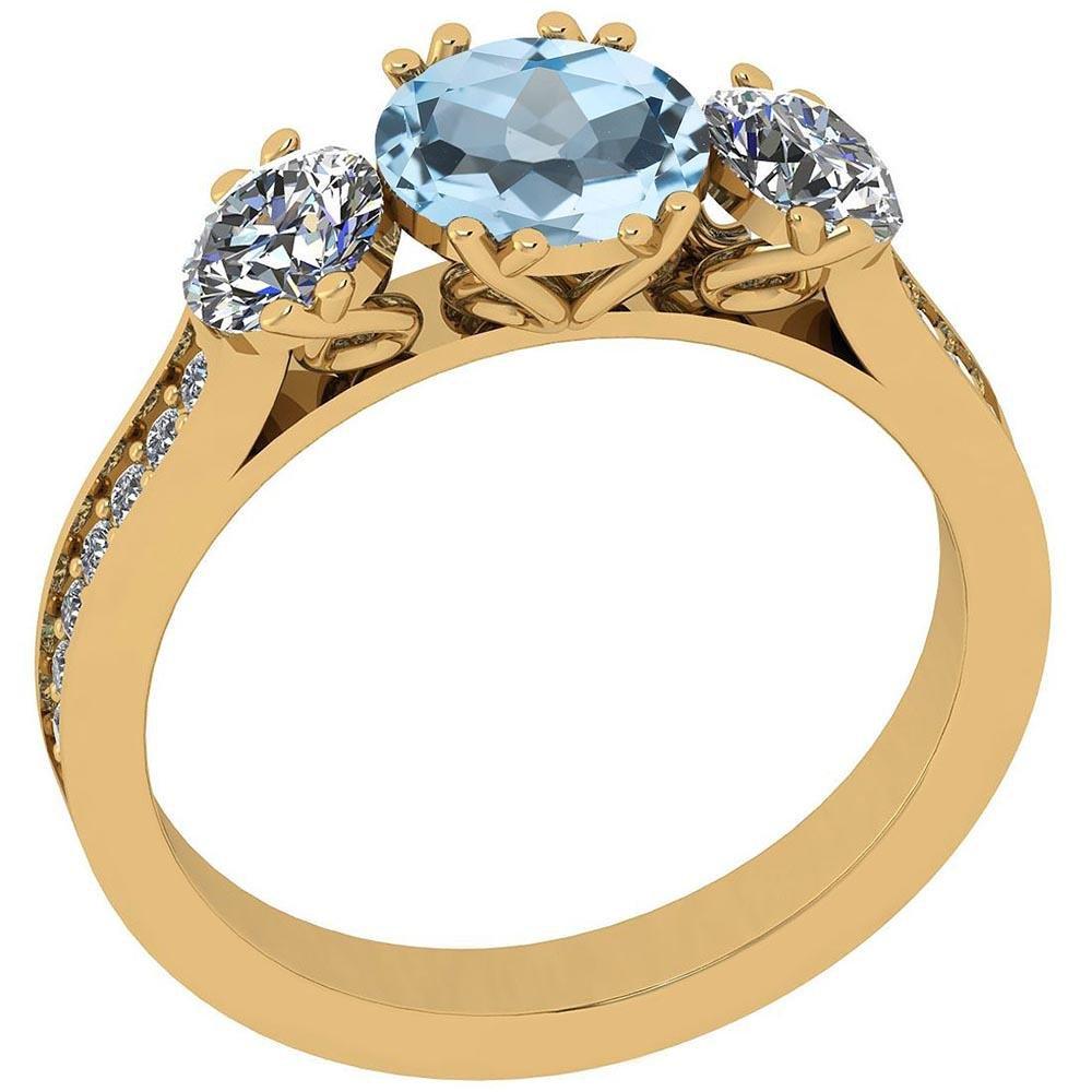 Certified 2.14 Ctw Blue Topaz And Diamond VS/SI1 18K Ye