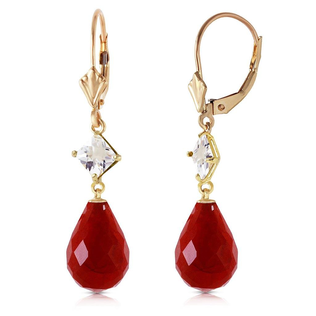 18.6 Carat 14K Solid Gold Leverback Earrings White Topa