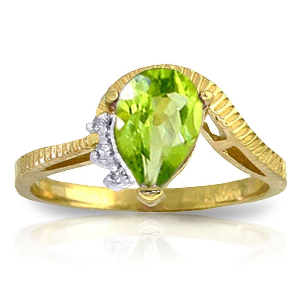 1.52 CTW 14K Solid Gold Love Stems Peridot Diamond Ring