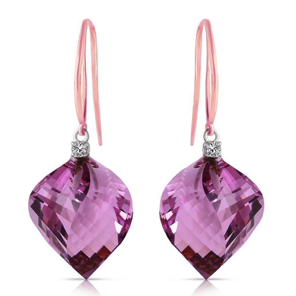 21.6 CTW 14K Solid Rose Gold Fish Hook Earrings Diamond