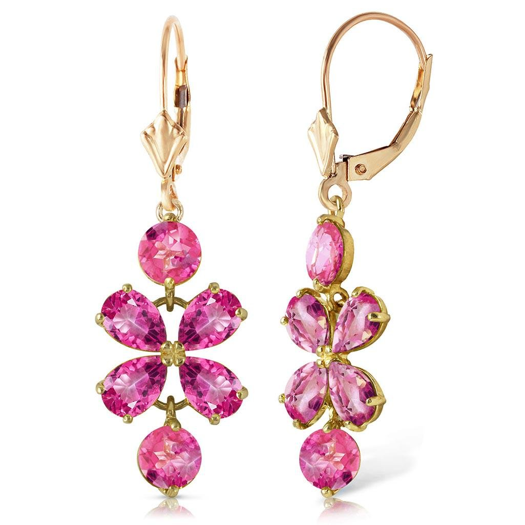 1 Carat 14K Solid Gold Faithful Pink Topaz Earrings