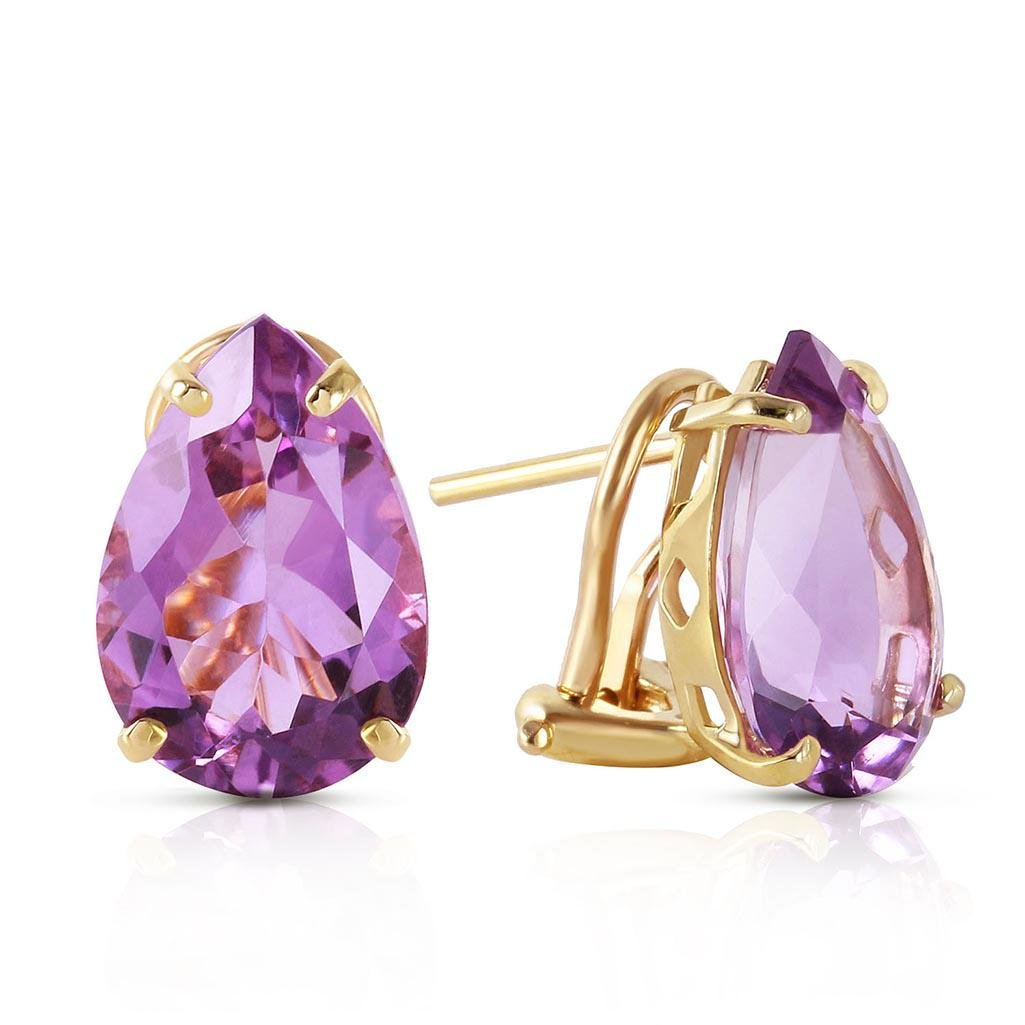 10 CTW 14K Solid Gold Inspiration Amethyst Earrings