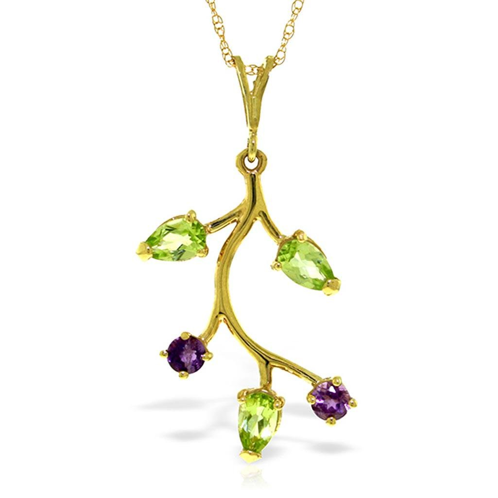 0.95 CTW 14K Solid Gold Necklace Amethyst Peridot