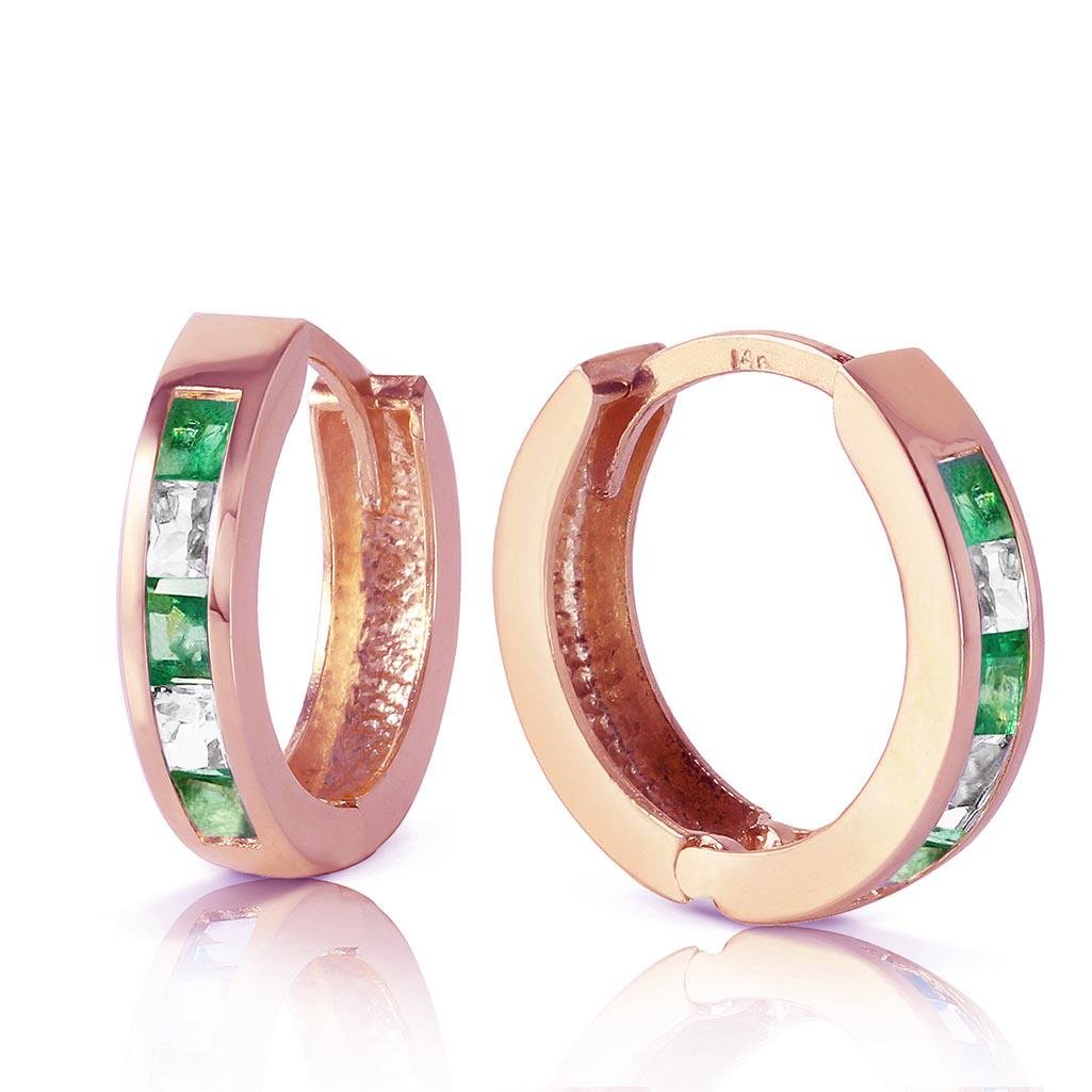 1.26 Carat 14K Solid Rose Gold Hoop Earrings Natural Em