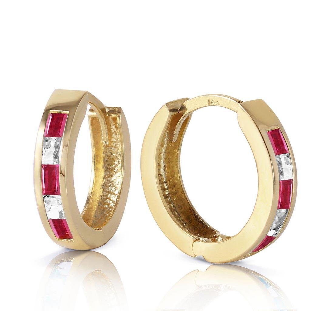 1.26 Carat 14K Solid Gold Hoop Earrings Natural Ruby Wh