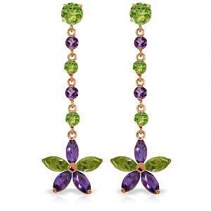 14K Solid Rose Gold Chandelier Earrings with Peridot &
