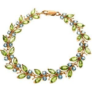 14K Solid Rose Gold Butterfly Bracelet with Peridot & B