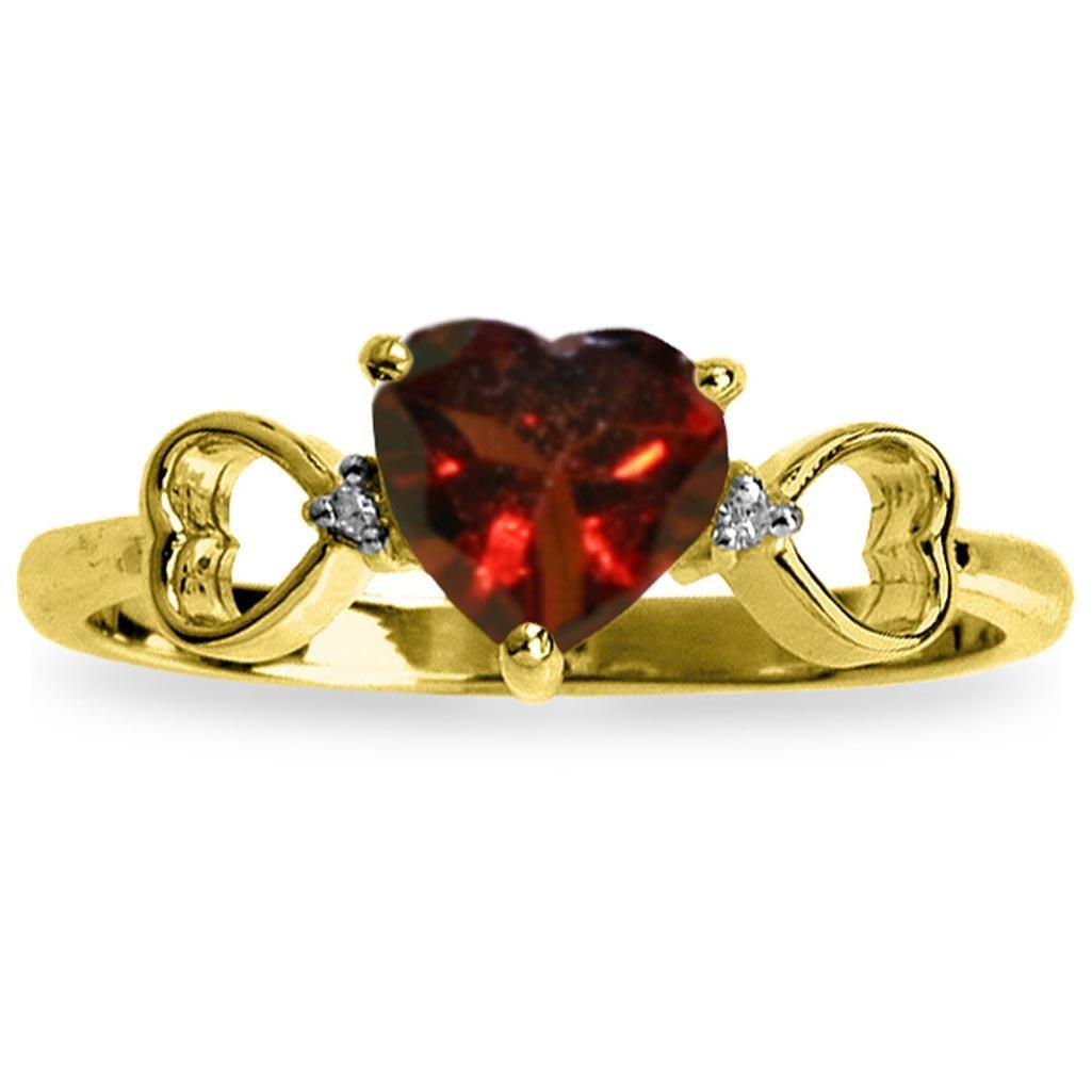 0.96 Carat 14K Solid Gold Soul Mate Garnet Diamond Ring