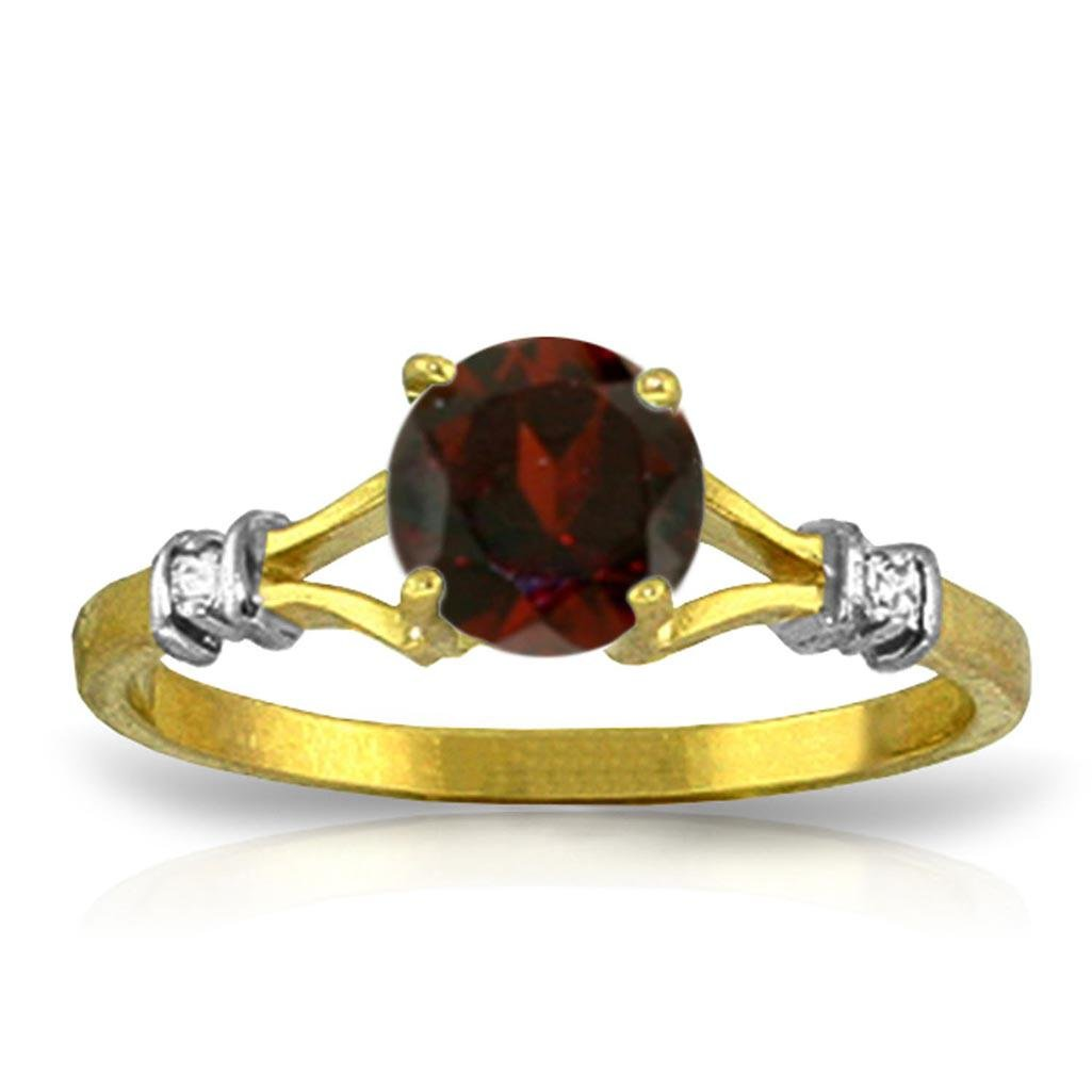 1.07 CTW 14K Solid Gold Garnet Rules Garnet Diamond Rin