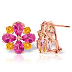 4.85 Carat 14K Solid Rose Gold French Clips Earrings Pi