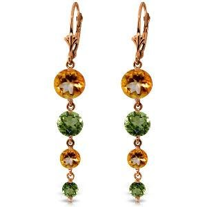 14K Solid Rose Gold Chandelier Earrings with Citrines &