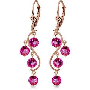 4.95 Carat 14K Solid Rose Gold Chandelier Earrings Natu