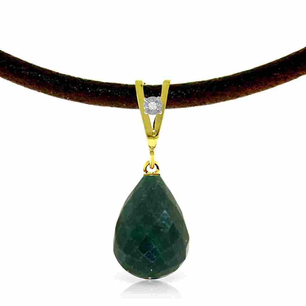 15.51 Carat 14K Solid Gold Leather Necklace Diamond Eme