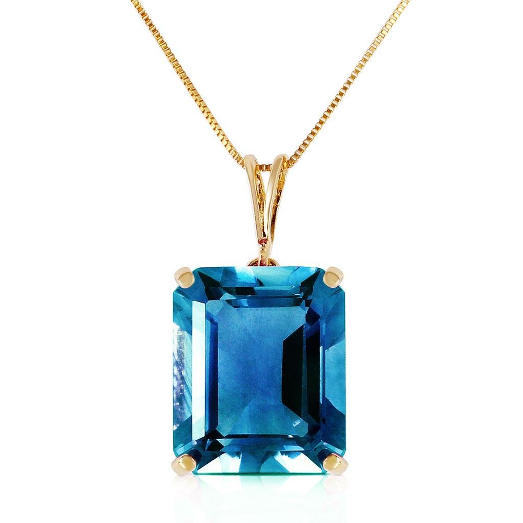 7 Carat 14K Solid Gold Necklace Octagon Blue Topaz