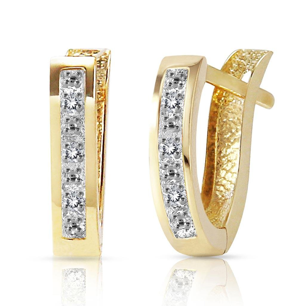 0.04 Carat 14K Solid Gold Oval Huggie Earrings Diamond