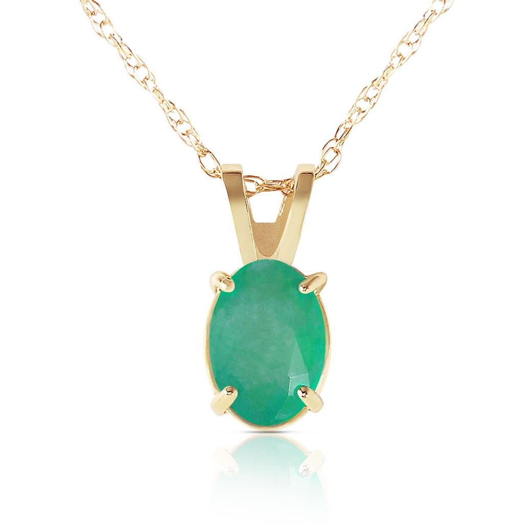 0.75 Carat 14K Solid Gold Necklace Natural Emerald