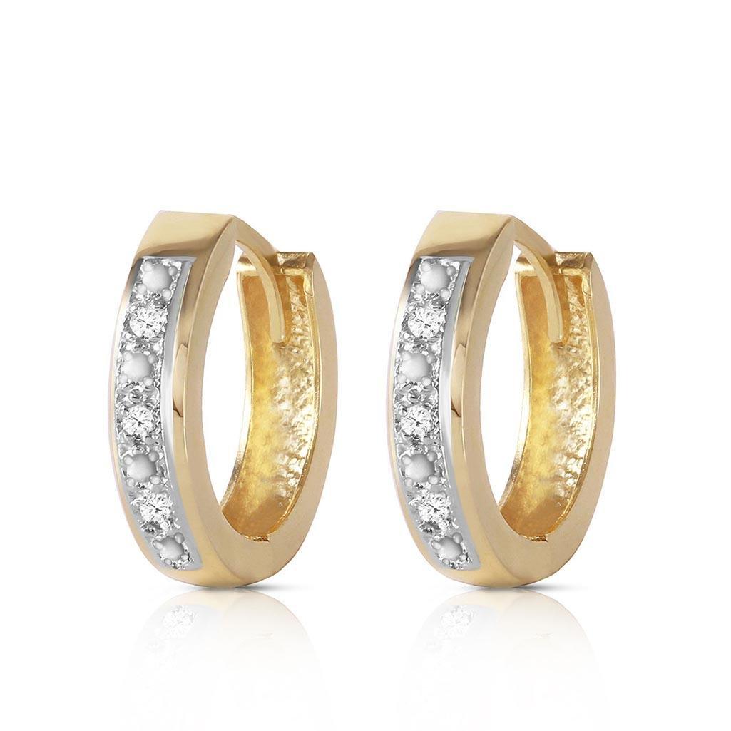 0.04 Carat 14K Solid Gold Hoop Huggie Earrings Diamond