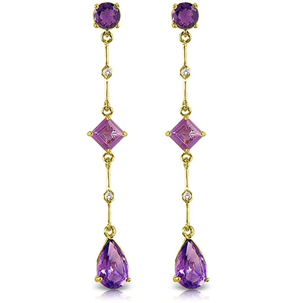 6.06 Carat 14K Solid Gold Chandelier Earrings Diamond A