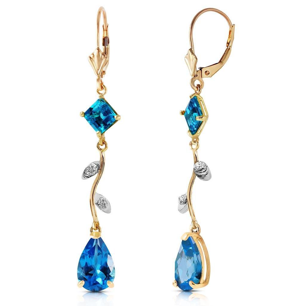 3.97 Carat 14K Solid Gold Chandelier Earrings Natural D