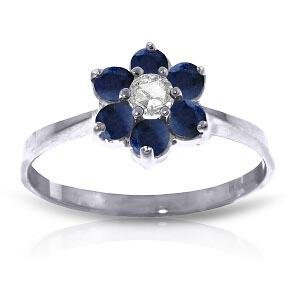 0.5 Carat 14K Solid White Gold Lovingkindness Sapphire