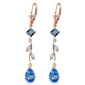 3.97 Carat 14K Solid Rose Gold Chandelier Earrings Natu