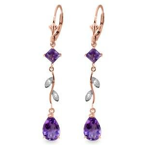 3.97 CTW 14K Solid Rose Gold Chandelier Earrings Natura