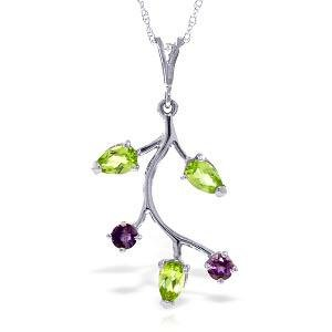 0.95 Carat 14K Solid White Gold Necklace Amethyst Perid