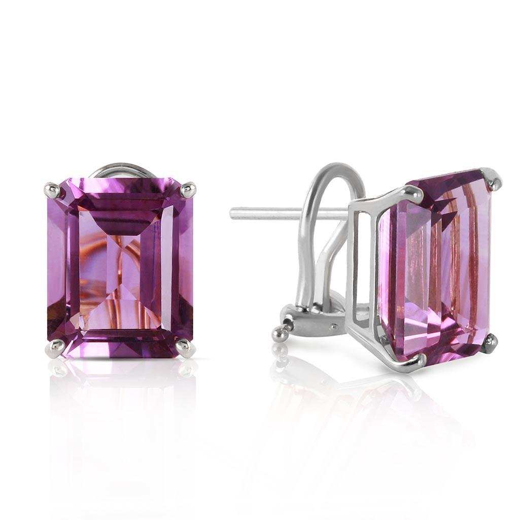 13 Carat 14K Solid White Gold Coming Years Amethyst Ear