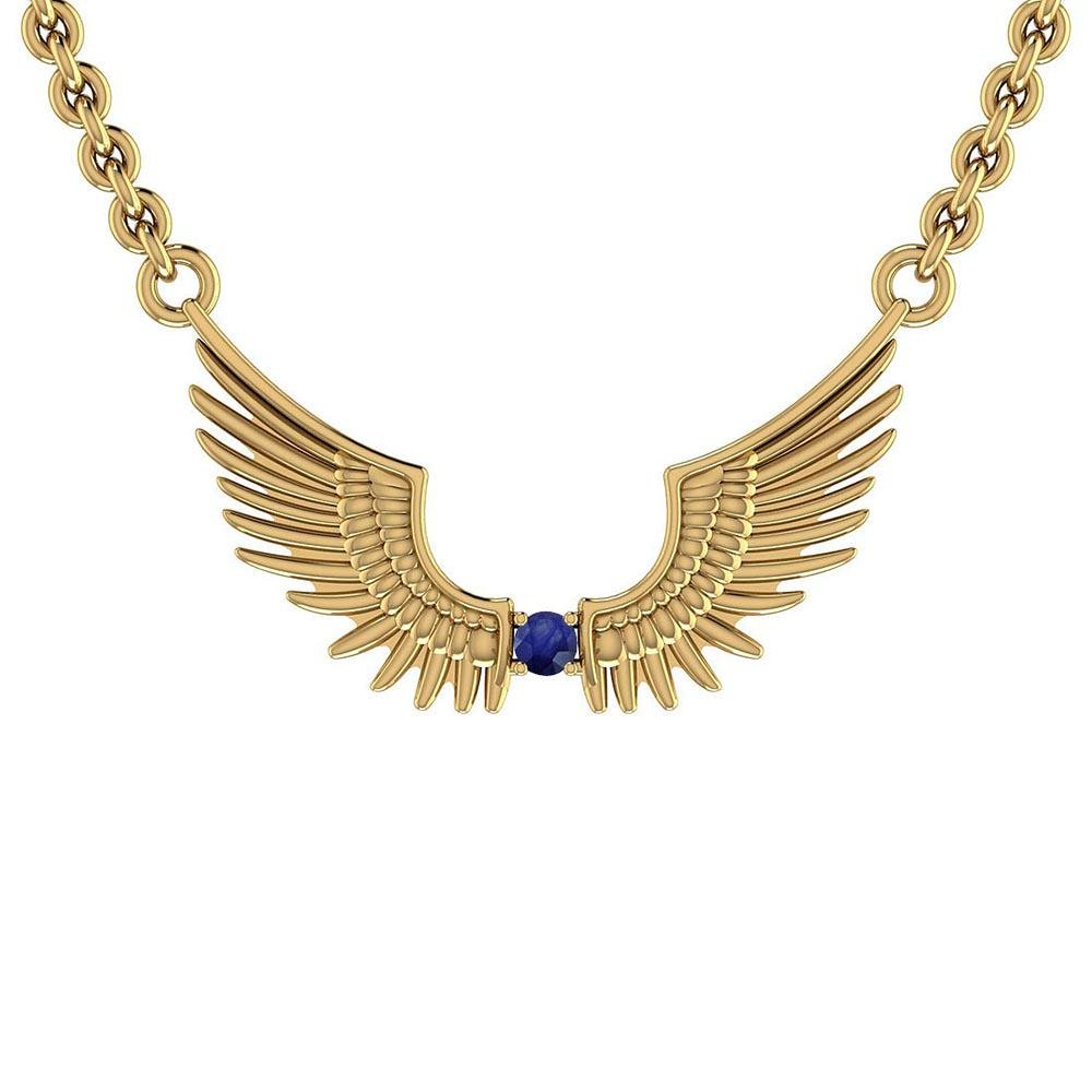 Certified 0.10 Ctw Blue Sapphire 10k Yellow Gold Neckla