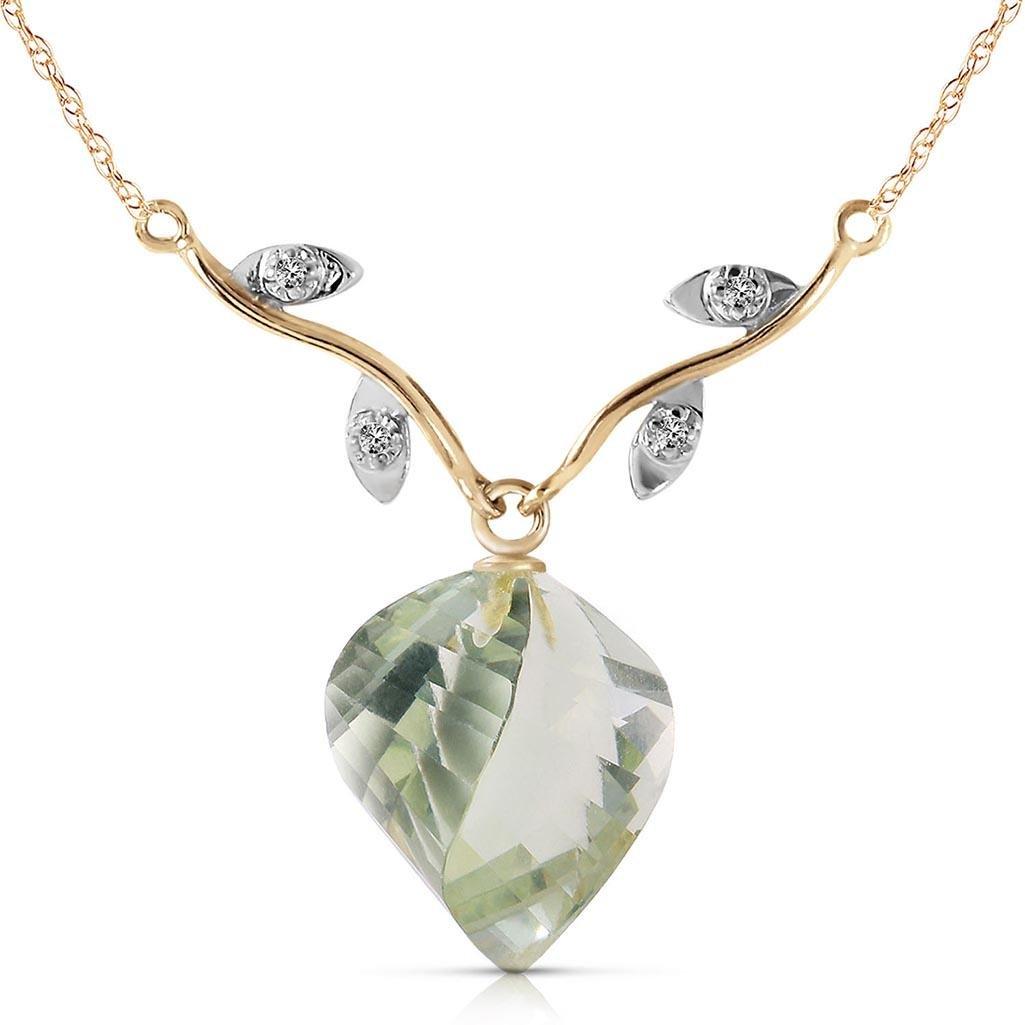 13.02 CTW 14K Solid Gold La Belle Vie Green Amethyst Ne