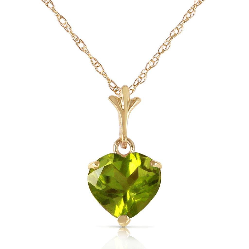 1.15 Carat 14K Solid Gold Leap Of Heart Peridot Necklac