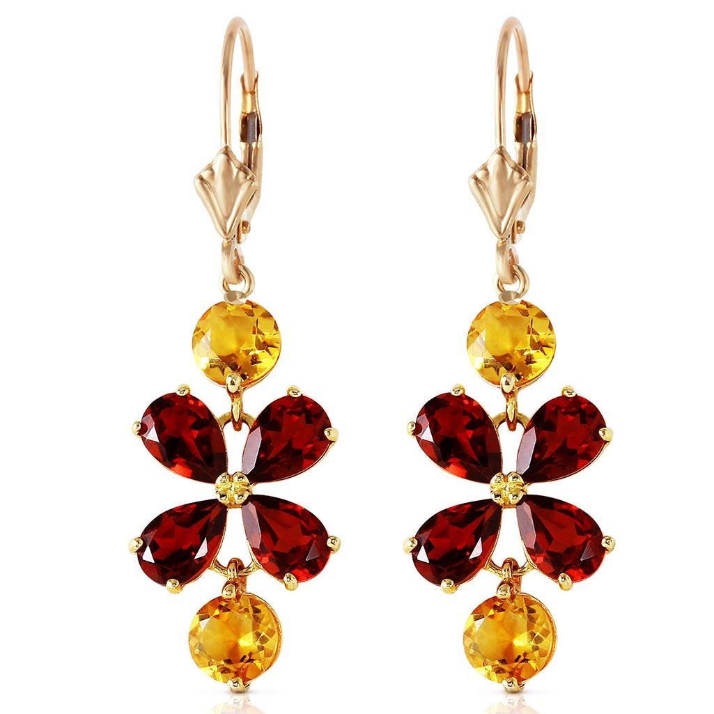 5.32 Carat 14K Solid Gold Chandelier Earrings Garnet Ci