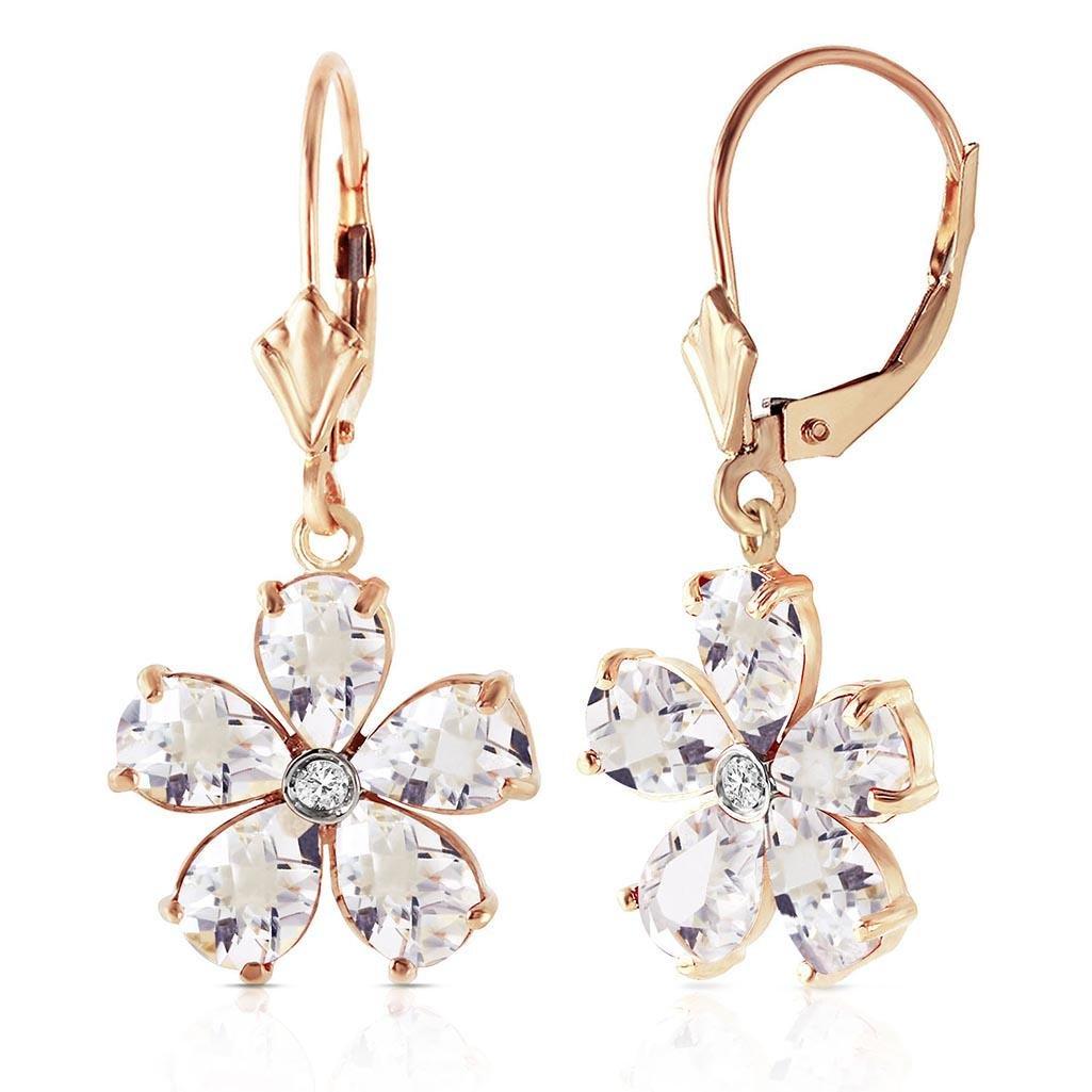 4.43 CTW 14K Solid Gold Zahra White Topaz Diamond Earri